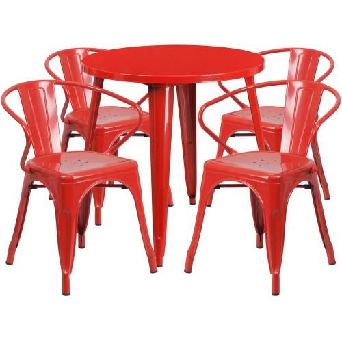 30'' Round Red Metal Indoor-Outdoor Table Set with 4 Arm Chairs