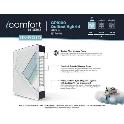 iComfort - CF1000 Quilted Hybrid - Medium - Split King
