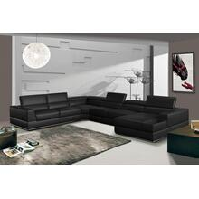 See Details - Divani Casa Pella - Modern Black Italian Leather U Shaped Sectional Sofa