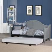Augusta Complete Twin-size Daybed and Metal Suspension Deck With Metal Roll-out Trundle, Gray