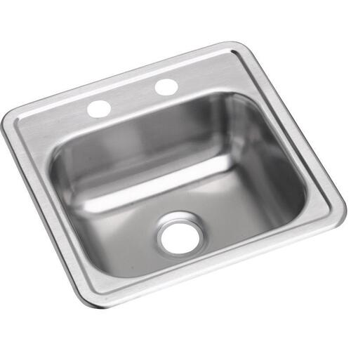 "Dayton Stainless Steel 15"" x 15"" x 5-3/16"", Single Bowl Drop-in Bar Sink"