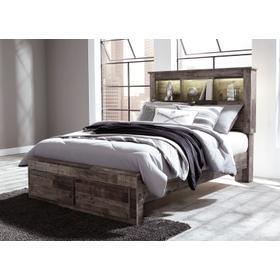 Derekson Full Bed W/Bookcase Headboard & Storage Footboard Multi Gray