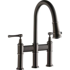 Elkay Explore Three Hole Bridge Faucet with Pull-down Spray and Lever Handles Antique Steel Product Image