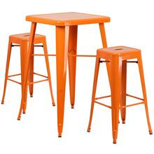 23.75'' Square Orange Metal Indoor-Outdoor Bar Table Set with 2 Square Seat Backless Stools
