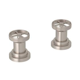 Campo Set of Hot and Cold 1/2 Inch Sidevalves - Satin Nickel with Industrial Metal Wheel Handle