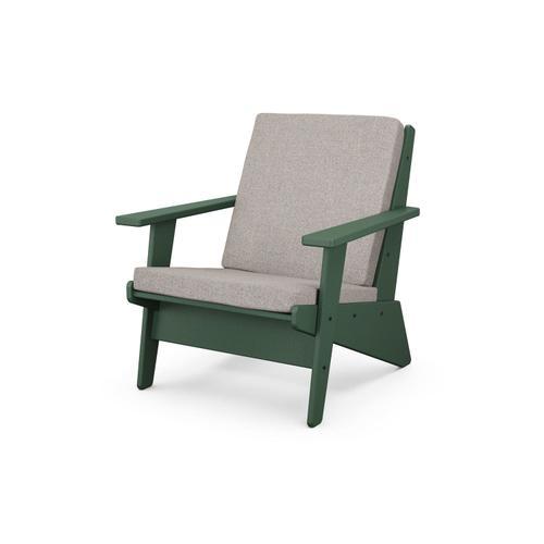 Green & Weathered Tweed Riviera Modern Lounge Chair