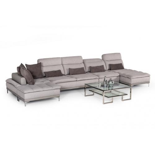VIG Furniture - David Ferrari Horizon - Modern Grey Fabric + Grey Leather U Shaped Sectional Sofa