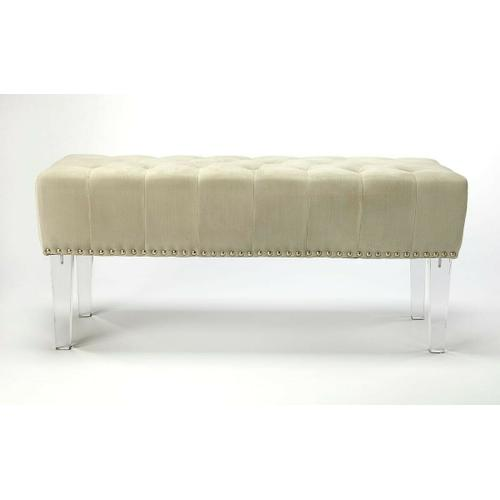 Bring an elegant, stylish, and functional flair to your living room, bedroom, or entryway with this designer style upholstered, acrylic leg, bench. The thickly padded, foam cushion, with Nickel finished steel nail head trim, provides you with complete comfort and support when used as additional seating. Elegant button tuft velvet fabric covers the bench giving it a contemporary designer aesthetic that can make any room more stylish.