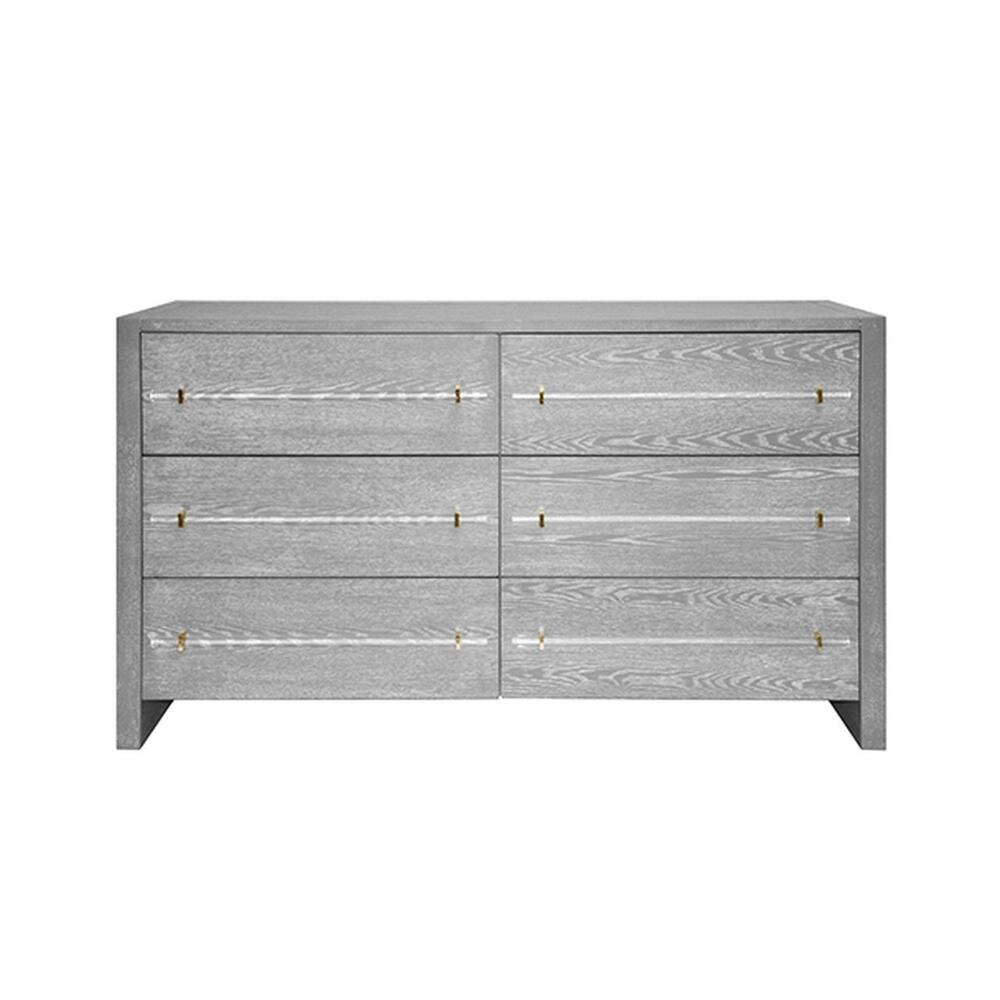 Our Luke Six Drawer Chest Exudes Casual Elegance With Its Grey Cerused Oak Finish and Sleek Cylinder Acrylic & Brass Hardware. A Perfect Accompaniment To Your Farmhouse, Industrial or Mid Century Interiors!