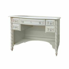 ACME Pearl Computer Desk - 01017 - Pearl White & Gold Brush Accent