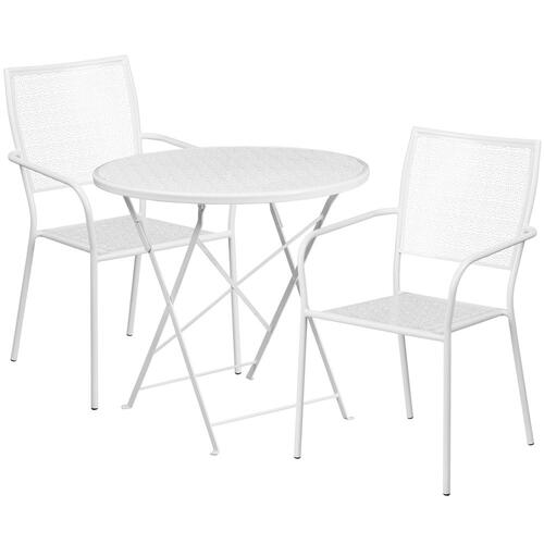 30'' Round White Indoor-Outdoor Steel Folding Patio Table Set with 2 Square Back Chairs