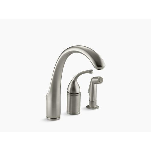 "Vibrant Brushed Nickel 3-hole Remote Valve Kitchen Sink Faucet With 9"" Spout With Matching Finish Sidespray"