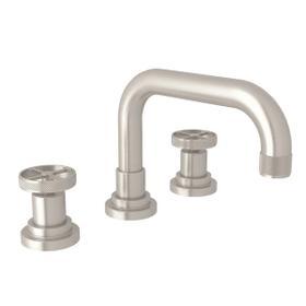 Campo U-Spout Widespread Bathroom Faucet - Satin Nickel with Industrial Metal Wheel Handle
