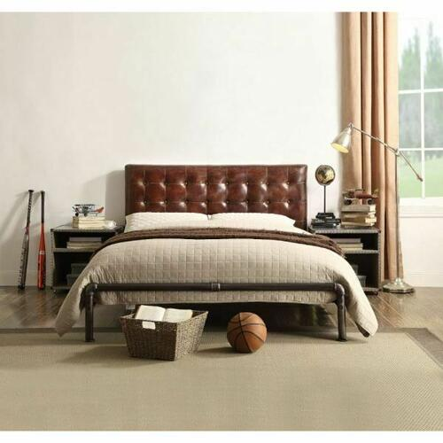 ACME Brancaster Queen Bed - 26210Q - Vintage Brown Top Grain Leather