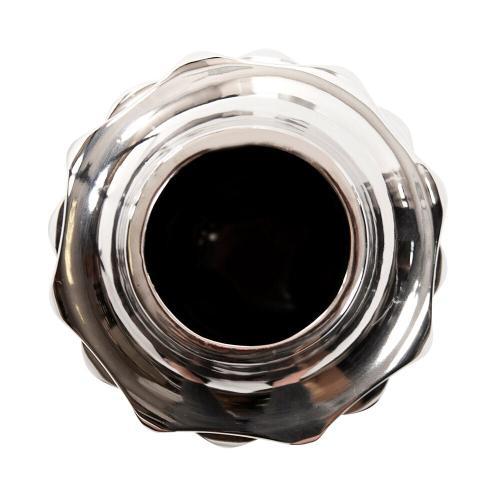 Howard Elliott - Hammered Metallic Silver Ceramic Vase, Small