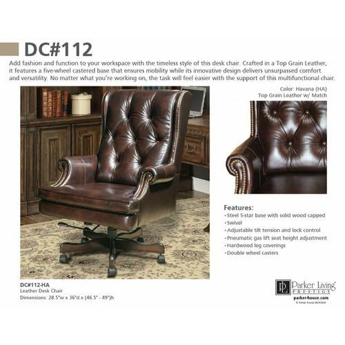 Parker House - DC#112-HA - DESK CHAIR Leather Desk Chair