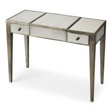 See Details - Trimmed in antique pewter and crafted from Birch Wood solids, this mirrored vanity is a beautiful touch of class in any space! The center lifts to reveal additional storage and a soft felt lining. The right and left drawers are a great place to tuck away personal items.