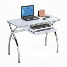 ACME Retro Computer Desk - 92062 - Chrome & White Glass