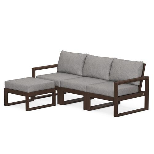Polywood Furnishings - EDGE 4-Piece Modular Deep Seating Set with Ottoman in Mahogany / Grey Mist