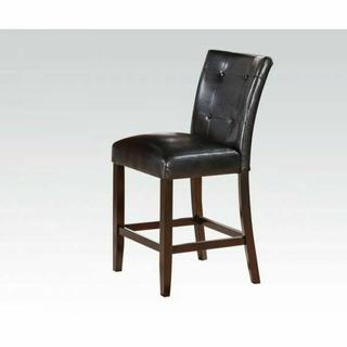 ACME Easton Counter Height Chair (Set-2) - 71147 - Black PU & Brown Cherry