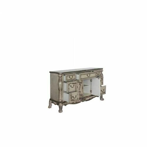 ACME Dresden Dresser - 28175 - Traditional, Vintage - Wood (Poplar), MDF, Poly-Resin - Vintage Bone White