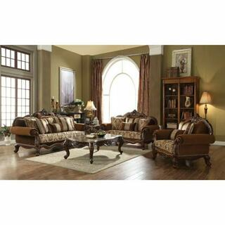 ACME Jardena Sofa w/6 Pillows - 50655 - Fabric & Cherry Oak