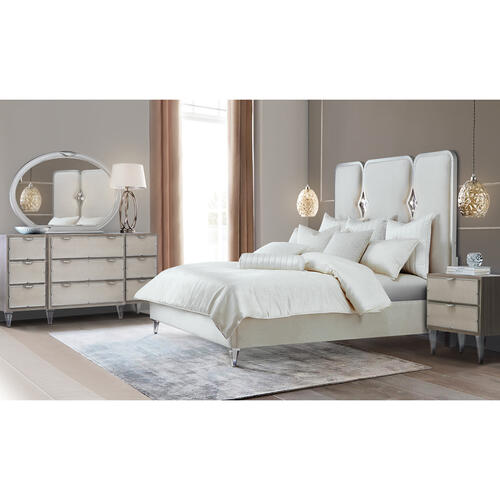 Cal King Upholstered Panel Bed W/crystals (3 Pc)