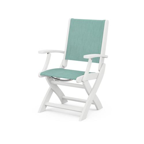 Coastal Folding Chair in White / Aquamarine Sling