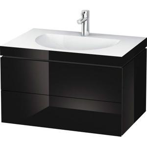 Furniture Washbasin C-bonded With Vanity Wall-mounted, Black High Gloss (lacquer)