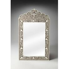 This magnificent Wall Mirror features old world craftsmanship. No two mirrors are ever exactly alike as each piece is handcrafted takes weeks of painstaking effort. The intricate patterns covering the piece are created from white bone inlays cut and individually applied in a field of brown by the hands of a skillful artisan. Delicate sheen overall says this piece is made for a Rej's palace. Wonderful in entryway, hall, boudoir or powder room.