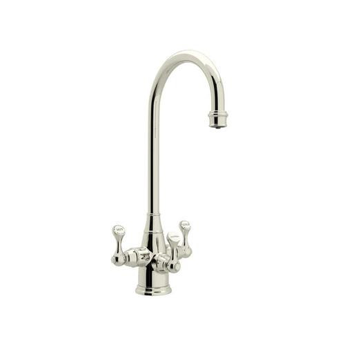 Georgian Era Filtration 3-Lever Bar and Food Prep Faucet - Polished Nickel with Metal Lever Handle