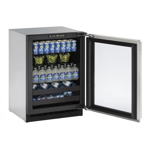 """U-Line - 2224bev 24"""" Beverage Center With Stainless Frame Finish and Left-hand Hinge Door Swing (115 V/60 Hz Volts /60 Hz Hz)"""