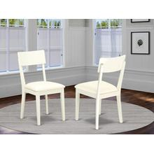 Andy slat back dining room chair with Faux Leather seat in Linen White Finish