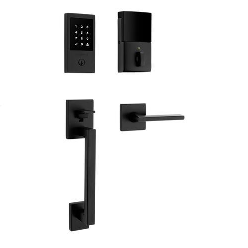 Satin Black Minneapolis Touchscreen Z-Wave Smart Lock Handleset