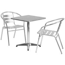 23.5'' Square Aluminum Indoor-Outdoor Table Set with 2 Slat Back Chairs