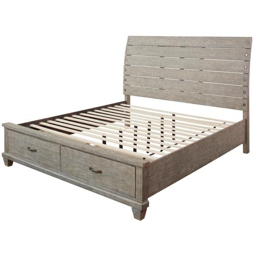 Naydell King Storage Bed Rustic Gray