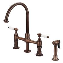 Harding Kitchen Bridge Faucet with Sidespray and Porcelain Lever Handles - Oil Rubbed Bronze