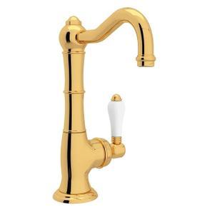 Cinquanta Single Hole Column Spout Kitchen Faucet - Italian Brass with White Porcelain Lever Handle