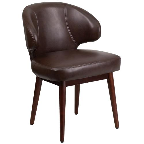 Brown Leather Side Reception Chair with Walnut Legs