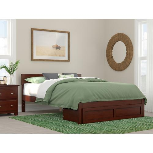 Boston Queen Bed with Foot Drawer in Walnut