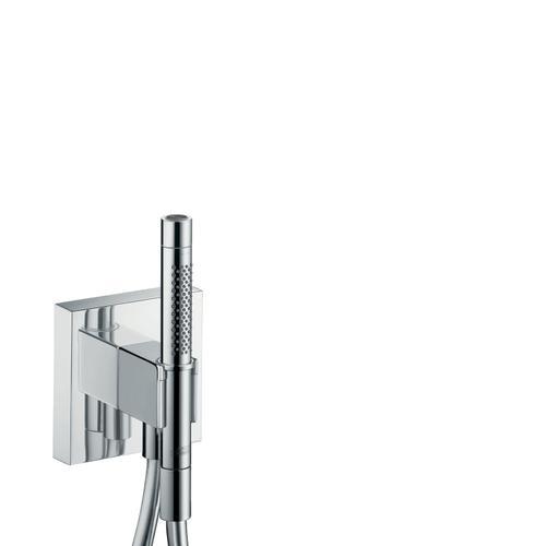 Polished Black Chrome Porter unit 120/120 with baton hand shower 2jet and shower hose