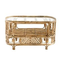 """Product Image - 36""""L x 20""""W x 21""""H Oval Bamboo & Glass Table w/ Shelf"""