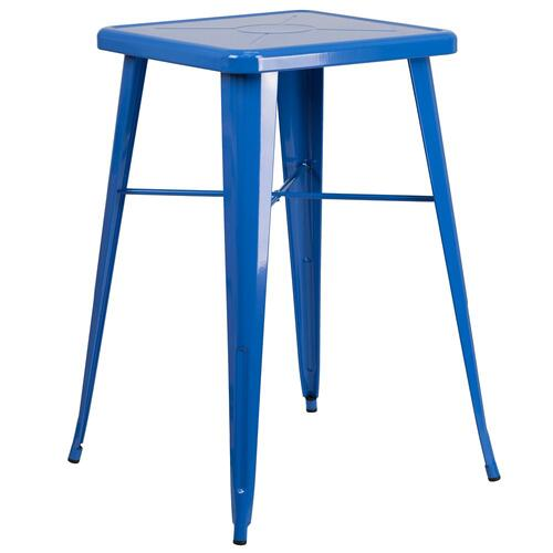 23.75'' Square Blue Metal Indoor-Outdoor Bar Height Table