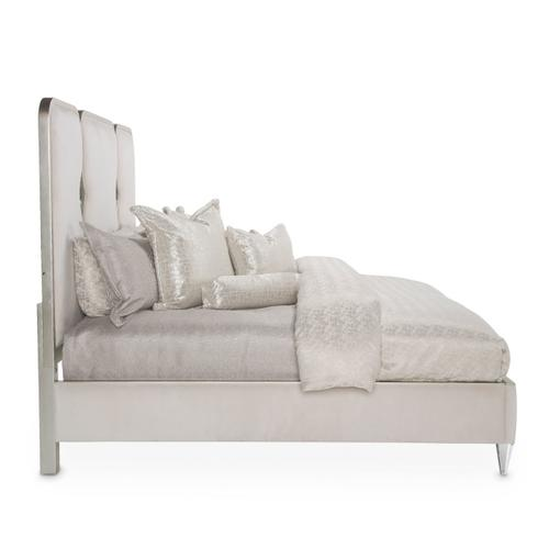Amini - Cal King Upholstered Panel Bed W/crystals (3 Pc)