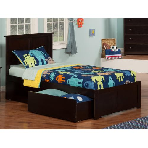 Madison Twin XL Flat Panel Foot Board with 2 Urban Bed Drawers Espresso