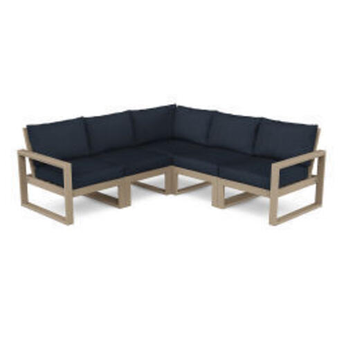 Polywood Furnishings - EDGE 5-Piece Modular Deep Seating Set in Vintage Sahara / Marine Indigo