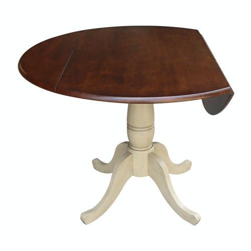 John Thomas Furniture - Round Dropleaf Pedestal Table in Almond & Espresso