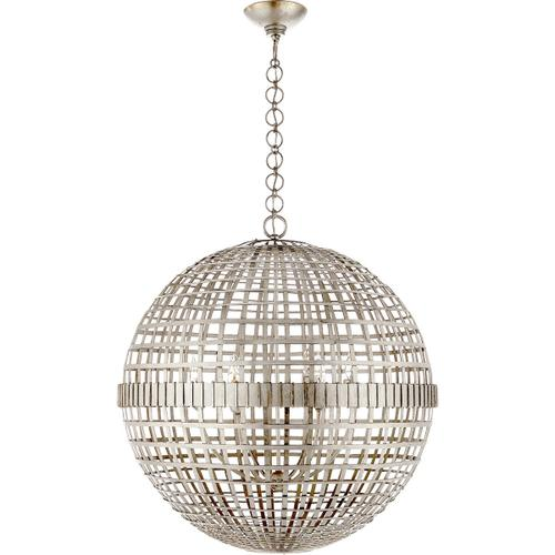 AERIN Mill 6 Light 30 inch Burnished Silver Leaf Globe Lantern Ceiling Light, Large