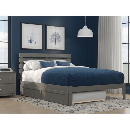 Oxford Queen Bed with USB Turbo Charger and Twin Extra Long Trundle in Grey