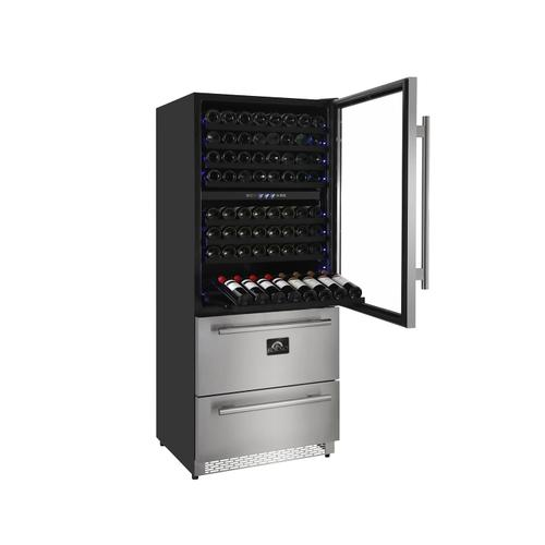 Forno - Capraia - Triple Temp Zones - Built-in or Free Standing Dual Zone Wine Cooler with two refrigerator drawers